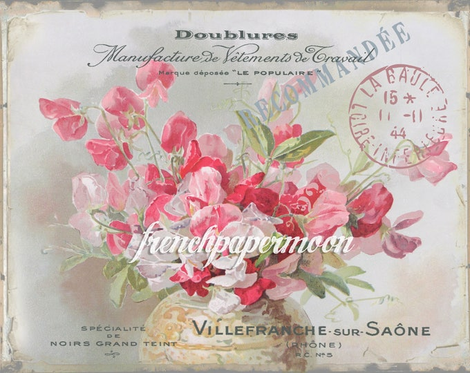 Vintage Digital Sweetpea, Shabby Flowers, French graphics, French Pillow Image, Large Image Graphic Transfer