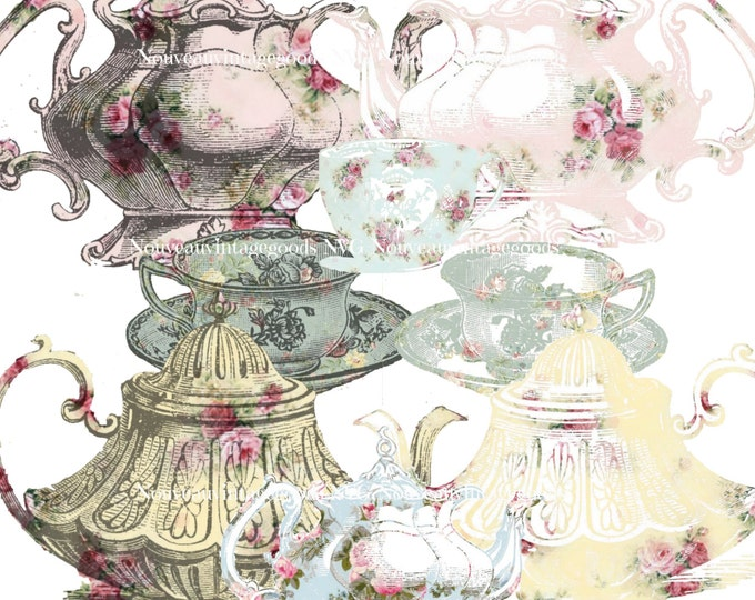 Digital Tea Clipart, Vintage Teapots and Cups Digital Download,  Antique Wallpaper Clipart, Digital Collage Sheet