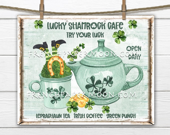 St. Patricks Day, DIY St. Patrick's Sign, Leprechaun, Clover, Shamrock,  Teapot, Pillow Image, Irish Wall Decor, Farmhouse, Wood, PNG