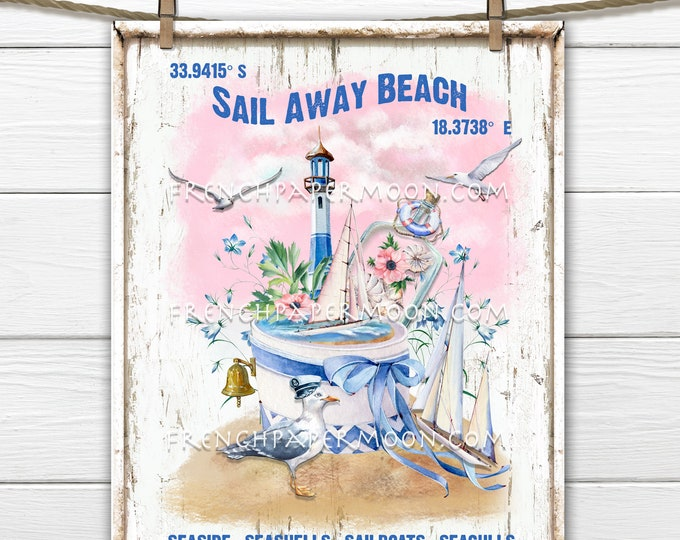 Nautical, Pink Summer, Digital, Sailboats, Lighthouse, Seagull, Beach Decor, Tiered Tray Image, Pillow Image, Wreath Accent, DIY Beach Sign