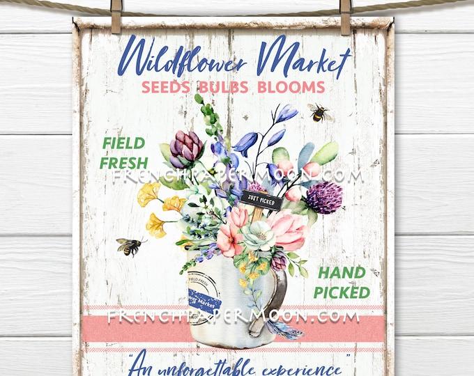 Wildflowers, Digital, Modern Farmhouse, Flower Market, Fresh Flowers, Pillow Image, DIY Wildflower Sign, Tiered Tray Decor, Wreath Decor