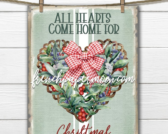 Holly Berry Christmas Digital, Greenery, Heart Wreath, Plaid Bow, Xmas Pillow Image, Sublimation, Christmas Sign, Xmas Crafts, Transparent