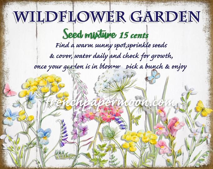 Wildflower Garden Printable, Watercolor Flower Graphic, Garden Graphic Digital, Pillow Image, Crafts, PNG  JPEG