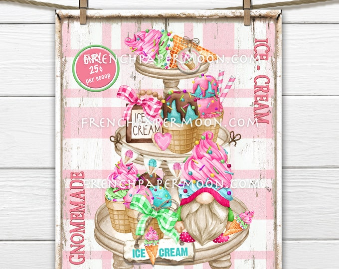 Gnome Ice Cream, Tiered Tray, Ice Cream Sign, Ice Cream Party, Summer Dessert, Treats, Pillow Image, Sublimation, PNG, Wood, Fabric Transfer