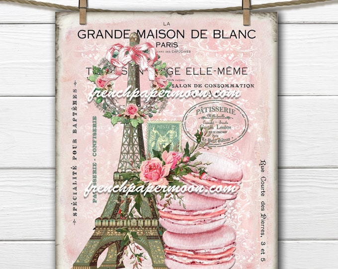 Shabby Pink French Patisserie Digital, Eiffel Tower, Macaron, Paris Bakery, French Pillow Image, French Ephemera, Large Size, Transparent