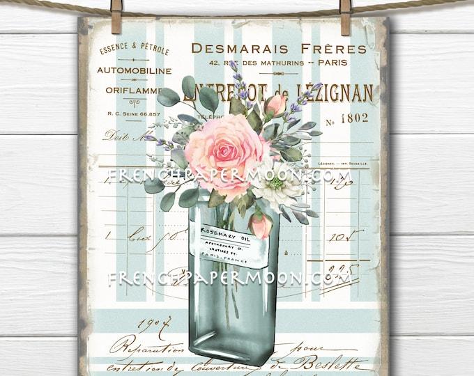 French Floral Pink Rose Digital,  Perfume Bottle, Flower Vase, French Pillow Image, Digital Collage, Sublimation, Decoupage, Transparent