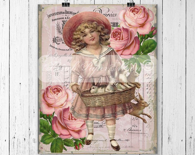 Vintage Shabby Bunny Girl Digital, Easter Bunnies, French Easter Bunny Pillow Image Graphic Transfer, Large Size Download