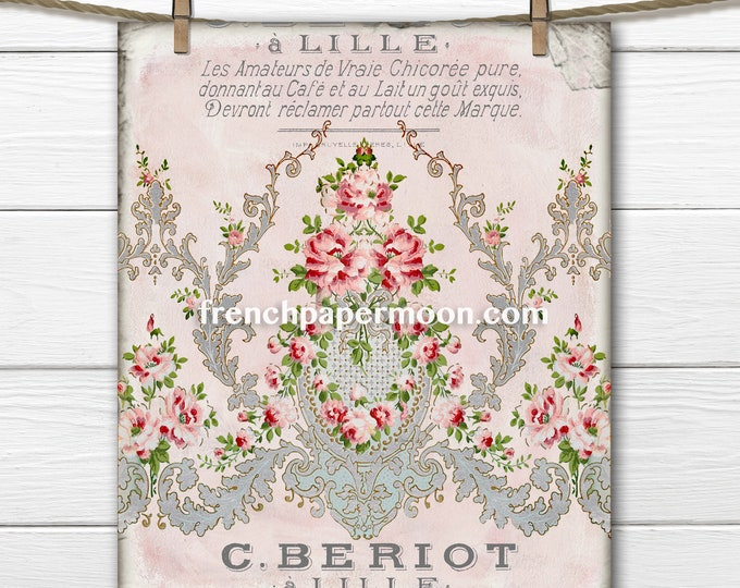 Digital Shabby French Victorian Wallpaper Graphic, Pink Roses, Vintage Pattern, Iron on, Craft Supply, Large and small