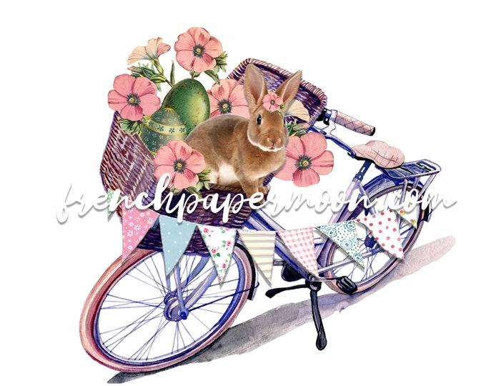 Shabby Bunny Bike Print, Easter Rabbit, Spring Bunny, Vintage Flowers, Bicycle Basket, Easter Pillow Image, Sublimation, Crafts, Transparent