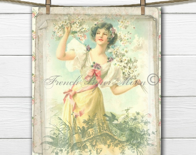 Shabby Spring Download, Victorian Woman Digital Image, Old Typography, Annuals, Field of Flowers, Digital Art