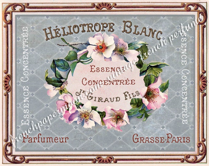 French Vintage Perfume Label Digital Image, Shabby Roses, French Graphics, Large Size, Digital Download, Fabric Transfer, Decoupage