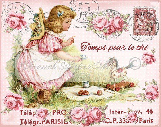 Shabby Digital Teatime, Victorian Girl Image, Roses, Pink, French Graphics, Printable French Teatime Graphic Transfer, Instant Download