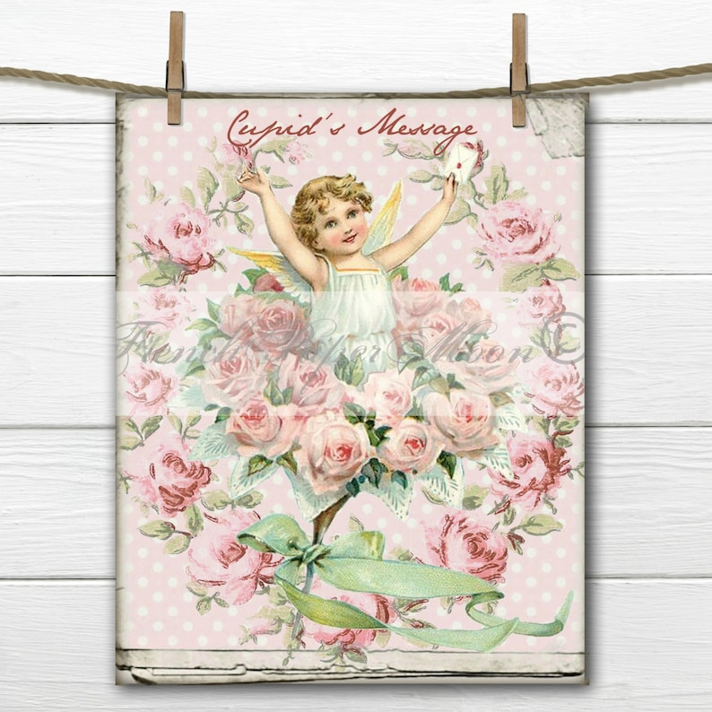 Digital Shabby Chic Vintage Valentine Victorian Cupid image 0