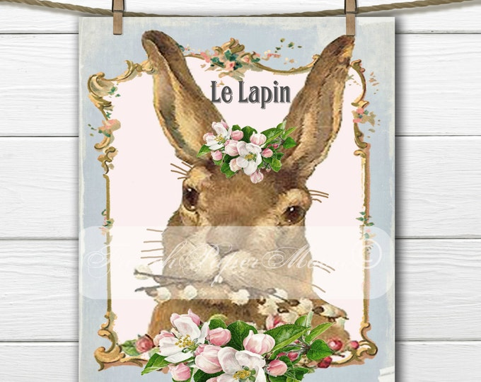 Easter Bunny, French Pillow Bunny Transfer, Vintage Bunny Iron On Graphic, Digital Download, Shabby Digital French Rabbit