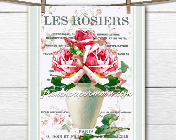 Vintage Shabby Romantic Roses, Vase of Roses, French Graphic Large Size, Transfer, Fabric Block, French Pillow Image, Digital