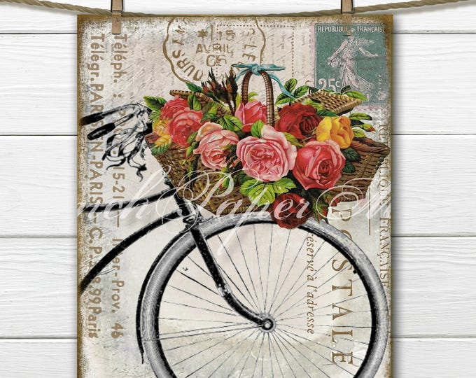 Shabby French Bike Postcard, Carte Postale, Paris Postcard, Flower Basket, Journal Digital. Fabric Transfer