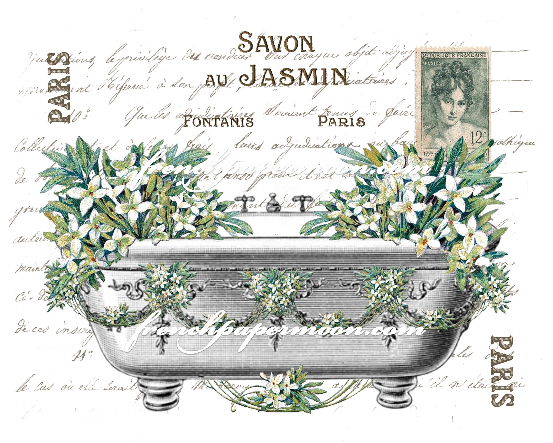 Shabby French Bathtub Flowers Victorian Bath Spring Jasmin Salle De Bain French Bathroom Decor Digital Download Image Transfer