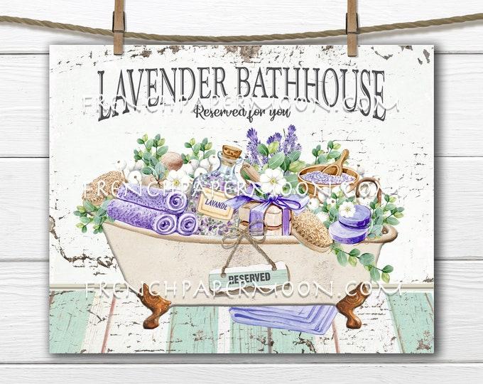 Lavender Bath, Modern Farmhouse, Wreath Accent Decor Sign, Tiered Tray Lavender Bath Sign, Bathroom Wall Art, Digital Print, Image Transfer