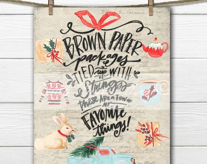Adorable Christmas Digital, Favorite Things Christmas Quote, Watercolor Christmas Download, Christmas Pillow Digital Transfer