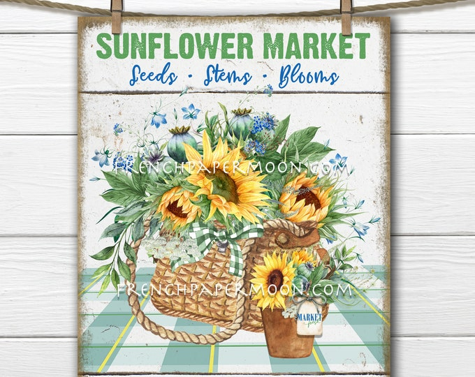 Sunflower Market, Digital, Farm Fresh Sunflowers, DIY Sign Making, Farmhouse, Wreath Accent, Image Transfer, Art Digital Print, Wood PNG