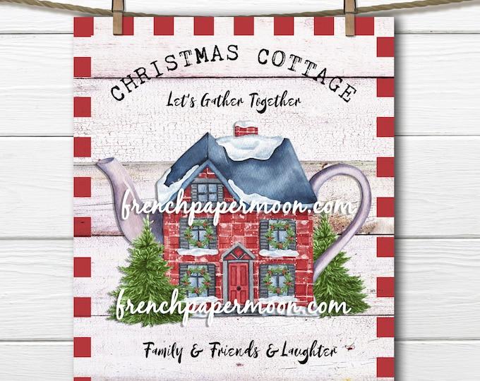 Christmas Tea Digital Download, Christmas Teapot, Crafts, Xmas Sign Printable, Xmas Pillow Image, Fabric Transfer, Transparent, Large Size,