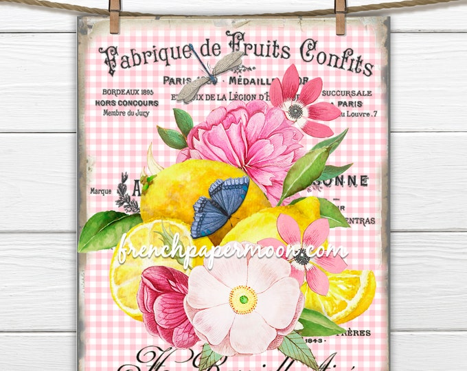 French Lemon Print, Vintage Pink Flowers, Summer Lemons, Print on Fabric, French Fruit Graphic, French Pillow Image, Wreath Decor, PNG