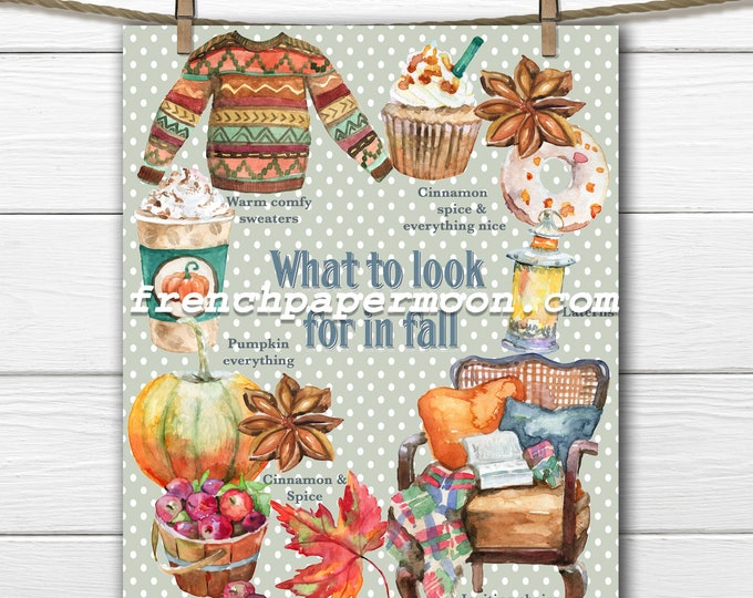 Fall Favorites, Cozy Fall, Leaves, Sweaters, Pumpkin Spice latte, Cupcake, Pumpkins, Fall Pillow, Printable Graphic JPEG PNG, Decoupage,