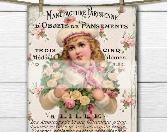 Digital Shabby Chic Victorian Girl with Rose Wreath, French Graphic, French Pillow Image, Instant Download Printable