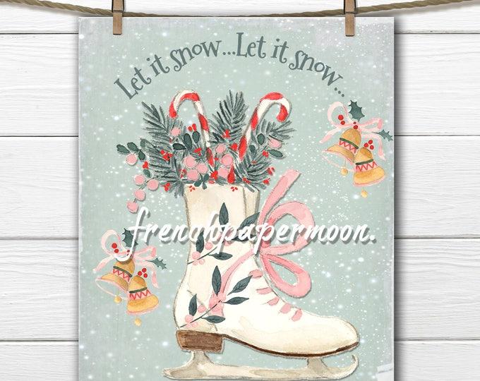 Cute Christmas Ice-skate Printable, Watercolor Ice-skate, Candy Canes, Christmas Party, Christmas Decor, DIY Xmas Sign, Digital Ice-skates