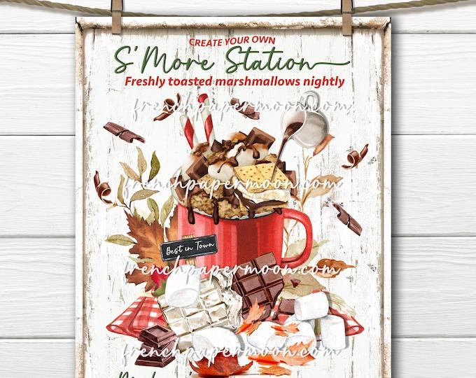 Smores Station, Digital, Making Smore Memories, Smore Ingredients, Camping, DIY Smore Sign, Image Transfer,Fabric Transfer, Sublimation, PNG