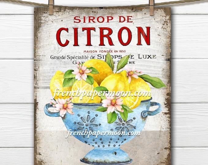 Vintage-style French Lemons Digital, Colander, Lemons, Farmhouse, French Pillow Image, Fabric Transfer, Wood, Transparent, KITCHEN LEMONS