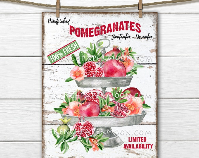 Pomegaranate Tiered Tray, Digital, Fall Fruit, DIY Fruit Sign, 8.5x11, Wreath Accent, Image Transfer, Fabric Transfer, Sublimation, Wood