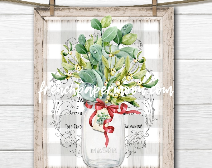 Christmas Greenery Bouquet, Mason Jar, Winter Greens, Mistletoe, Eucalyptus, Pillow Image, DIY Xmas Sign, Plaque, French Country, PNG