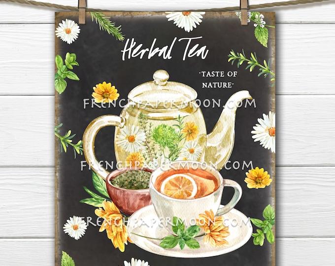 Chalkboard Herbal Tea, Digital, Teapot, Teacup, Summer Herbs, Kitchen Printable, DIY Herb Tea Sign, Fabric Transfer, Image Transfer, PNG