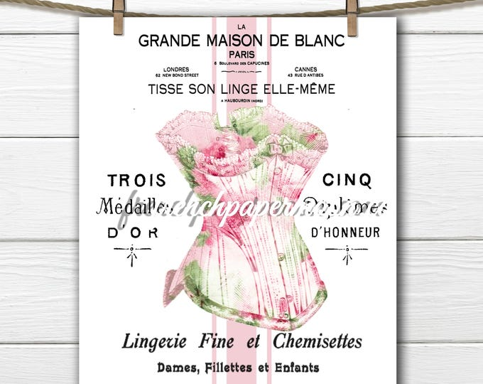Shabby French Digital Corset Large Image Graphic Transfer Antique Typography French Pillow Image