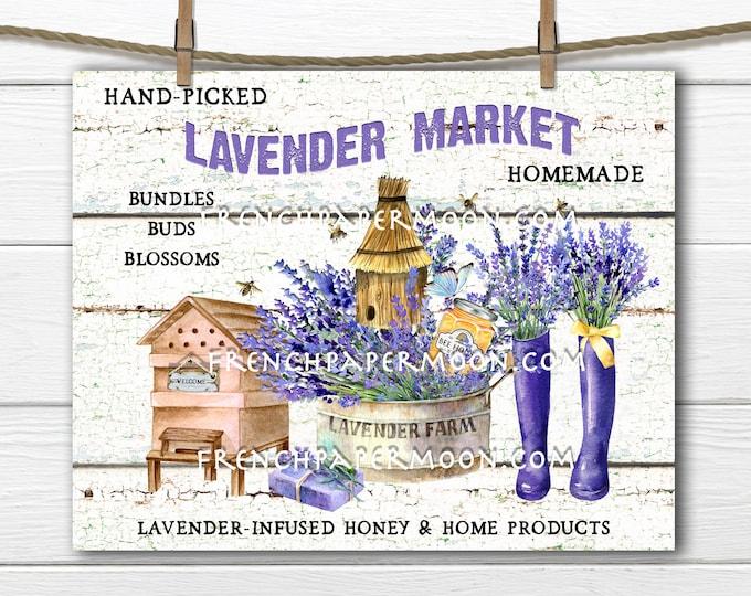 Farmhouse Lavender, Lavender Market, Lavender & Honey, DIY Lavender Sign, Digital Image, Fabric Transfer, Wreath Accent, Home Decor,