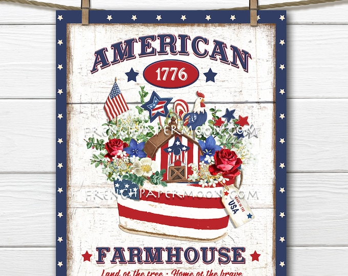 4th of July, Patriotic, Farmhouse, Patriotic DIY Sign, Patriotic Basket, Americana, Fabric Transfer, Image Transfer, Home Decor, PNG, Wood