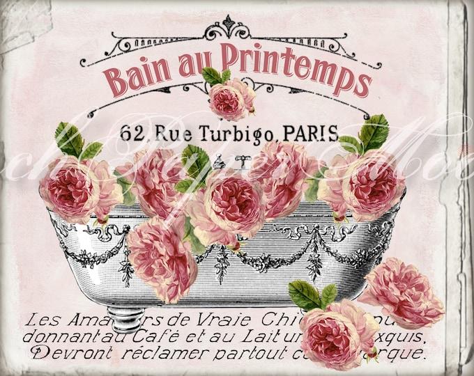 FRENCH BATHTUB ROSES, Victorian Bath Graphic, Shabby Bathroom Print, Printemps, Salle de Bain, French Bathroom Decor Digital Image Transfer