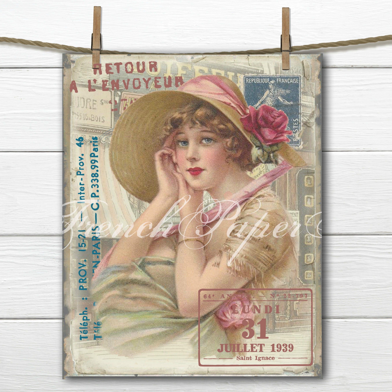 vintage shabby chic parisian lady, vintage paris collage sheet