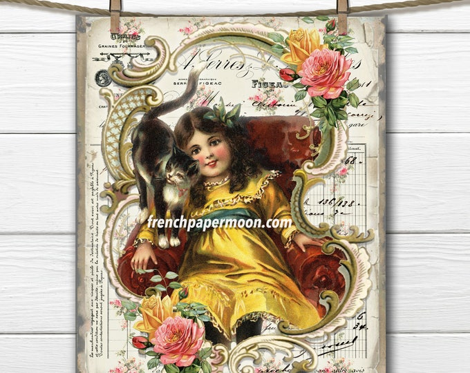 Shabby Victorian Girl with Cat Digital, Adorable Vintage Girl, Roses, French Graphics, Fabric Transfer, Large image, Instant Download