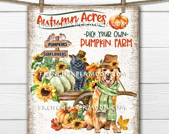 Golden Retriever, Black Cat, Pumpkin Wagon, Fall Harvest, DIY Sign, Image Transfer, Fabric Transfer, Wreath Accent, Tiered Tray Decor, PNG