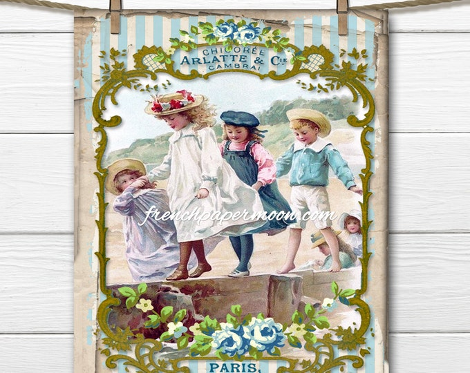 Seaside Graphic, Vintage Shabby French Printable Victorian Children, Instant Download, Iron on Fabric. Image Transfer