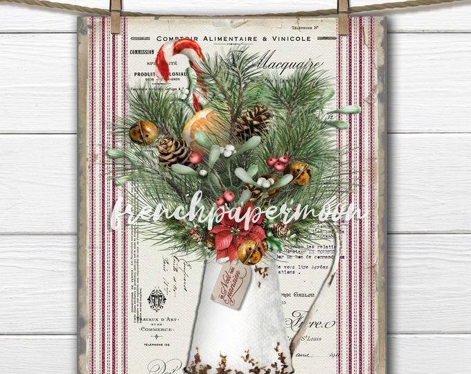 Rustic Christmas Flowers, French Xmas Boquet, Winter Flowers, Printable Xmas, Pillow Image, Card-making, Sublimation, Digital, Transparent