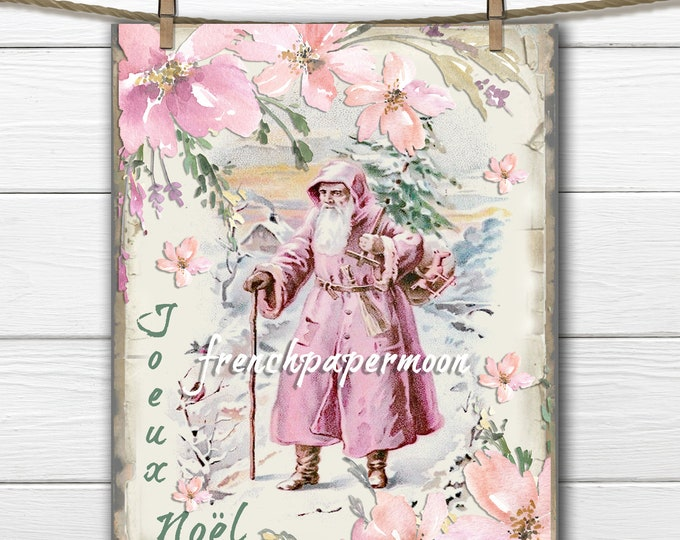 Shabby Pink Santa Printable, Pink Christmas Graphic, Watercolor Flowers, Instant Download, Pillow Image, Crafts, JPEG