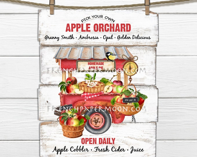Apple Market, Digital, Apple Pie,  Apple Orchard, Country Kitchen, DIY Apple Sign, Wreath Accent, Pillow Image, Fabric Transfer, Wood PNG
