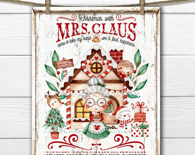 Mrs Claus, Christmas, Cute Xmas, Christmas Bakery, North Pole, Kids Christmas, Digital Print, Wreath Decor, Sublimation, DIY Decor Sign, PNG