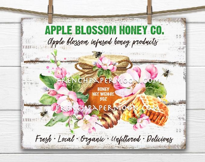 Apple Blossom Honey, Digital, farmhouse, DIY Honey Sign, Organic Honey, Pillow Image, Fabric Transfer, Home Decor, Wreath Attachment, PNG