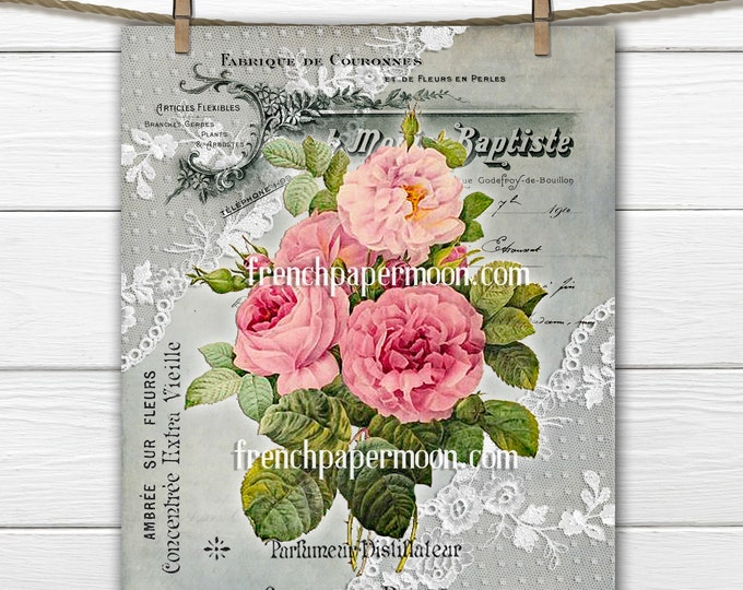Romantic French Perfume Roses, Vintage Rose Bouquet Printable, French Pillow Image, Large Size, Digital Download, Transparent, PNG