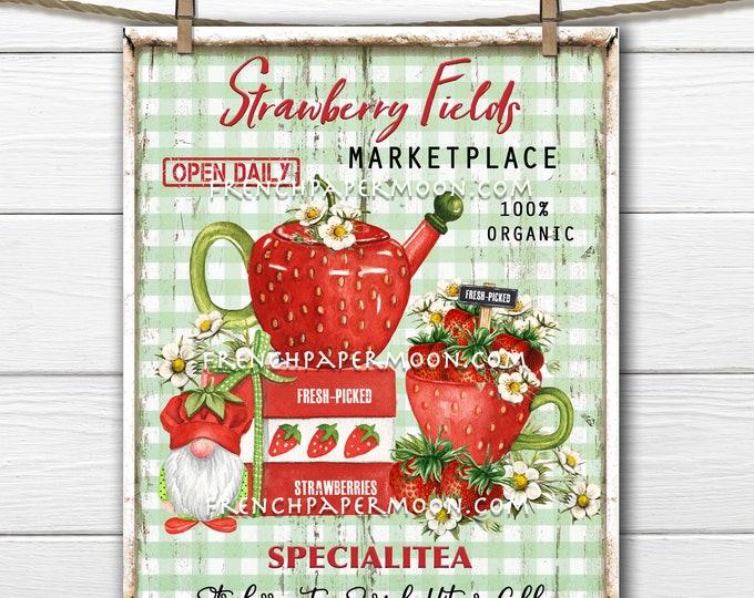 Farmhouse Strawberries, Digital, Strawberry Tea, Strawberry Gnome, Teapot, DIY Kitchen Sign, Pillow Image, Wreath Decor, PNG, Plaid, Wood