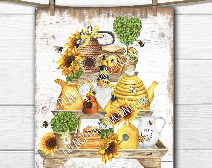 Cute Bee Tiered Tray Digital, Honey Bee, Honey Pot, Gnome, Sunflowers, Wood Background, Transparent, Bee Pillow Image, Fabric Transfer